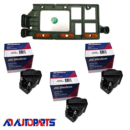 AD Auto Parts Coil Pack - Herko LX346 Ignition Control Module + 3 OEM BS3006 Ignition Coils