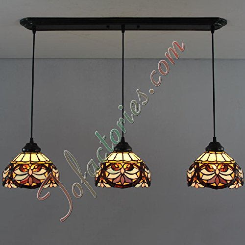 Tiffany Continental Coffee Purple Retro Living Room Hallway Creative Restaurant Tiffany Chandeliers Pendant Light - 3 Lights