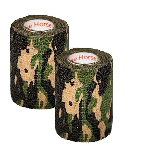 "Military Wrap (2 Pack Camo Tape 3"" inch x 15' Feet Self Adhesive Adherent Tactical Stealth Non Woven Fabric Stretch Bandage Vet Wrap Rap Protective Camouflage Tape for Outdoor Military - Woodland)"