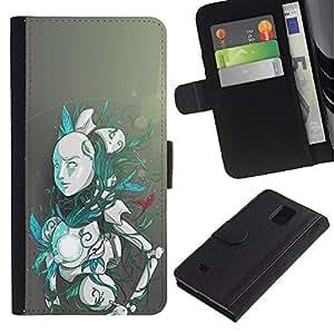 YiPhone /// Tirón de la caja Cartera de cuero con ranuras para tarjetas - Robot Android - Samsung Galaxy Note 4 IV