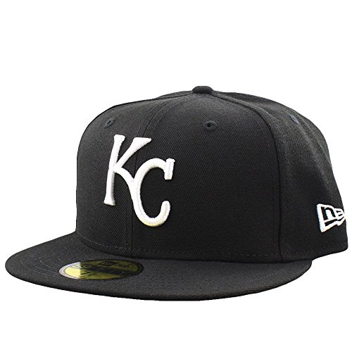 NEW ERA Men's 59fifty HAT Kansas City Royals MLB Basic Black White Fitted CAP (7 3/8) Black Royal Fitted Hats