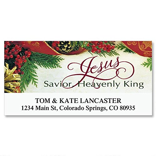 Bordered Christmas Self-Adhesive, Flat-Sheet Deluxe Address Labels