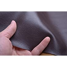 Thin Lychee Skin Embossed Fake Leather Fabric for Home Decor Furniture Upholstery Application,soft Leather Upholstery Fabric,bags/wallets Leather Fabric,wide 54'' Sold By Half Yard (Black Brown)