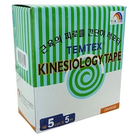 Kinesiology tape 5x5 6 uds Temtex talla 5 cm x 5 m color rosa