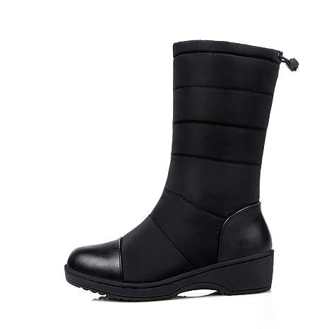 e94df16de7b85 DETAWIN Women Winter Mid Calf Boots Round Toe Drawstring Waterproof Warm  Mid Wedges Platform Snow Boots