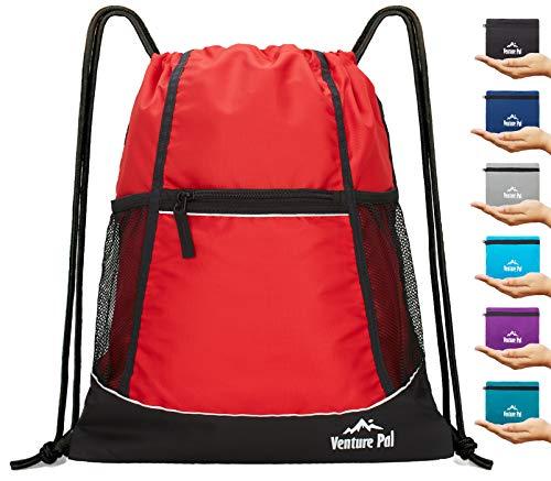 Venture Pal Packable Sport Gym Drawstring Sackpack Backpack Bag with Wet Pocket for Men,Women,Kids-Red -