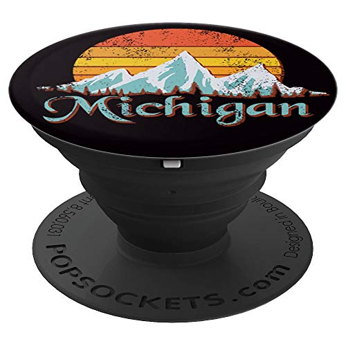 Michigan with Sunset and Mountains on Black - PopSockets Grip and Stand for Phones and Tablets