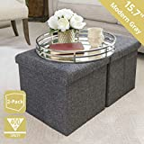 Seville Classics WEB291 15.7' Foldable Storage Ottoman Footrest Toy Box Coffee Table Stool, 2-Pack, Charcoal Gray