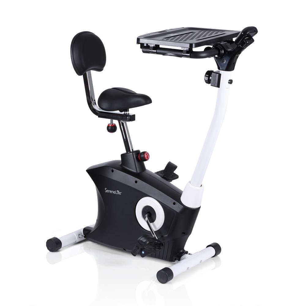 SereneLife Exercise Bike - Upright Stationary Bicycle Pedal Cycling Trainer Fitness Machine Equipment with Laptop Tray for Workout, Weight Loss, Fitness & Health at Home & Office (SLXB9)