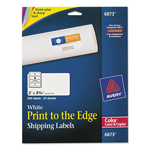 Avery Color Printing Mailing Labels, 2 x 3 3/4, White, 200/Pack