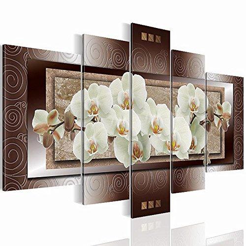 Bilder !!! SENSATIONSPREIS !!! 2054527a Bild auf Vlies Leinwand, Orchidee, 170 x 100 cm, Blumen Abstrakt 5 Teile Wandbild