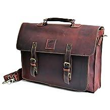 """18"""" Large dark Leather bag for men messenger bag shoulder bag mens Laptop Bag office bag cross body bag"""