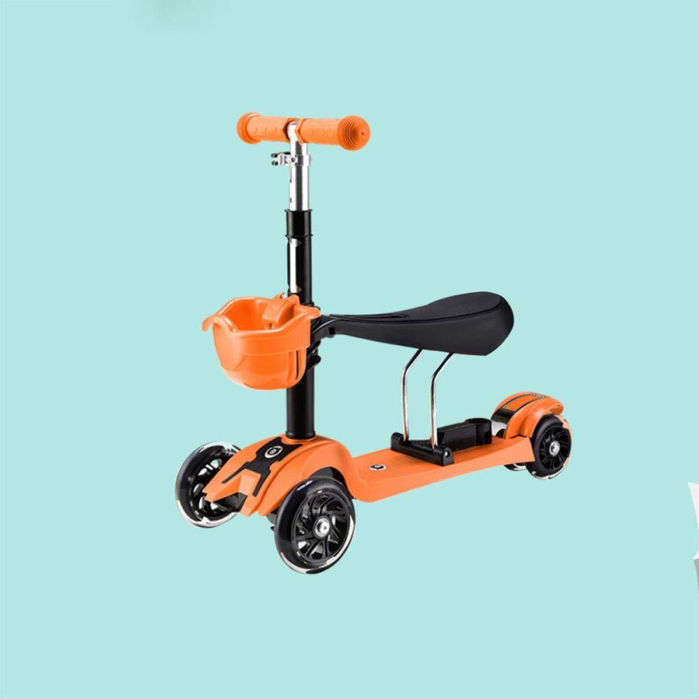 QXMEI Scooter Niños Principiantes Pueden Sentarse Tres-en-uno Bebé Deslizador De Cuatro Ruedas Flash,Orange