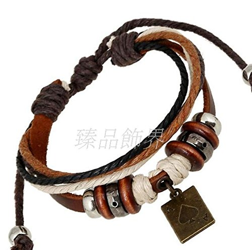 Hot fashionable men and women national wind leather bracelet hand-beaded leather bracelet pendant poker
