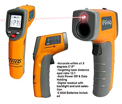 VViViD Infrared Digital Thermometer Gun with Laser Sight and LED Display Screen