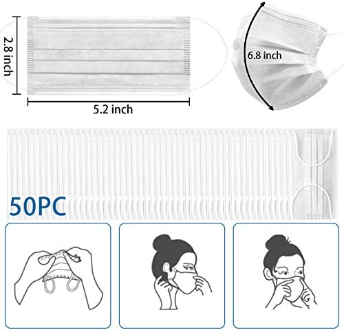 Disposable Face Masks, ESOLOM 3-Ply Anti Dust Breathable Earloop Mouth Face Mask, Comfortable Reusable Non-Woven Filter Face Mask for Home and Office 50 PCS-White