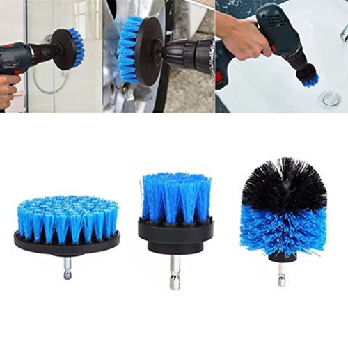 elegantstunning Tile Grout Power Scrubber Cleaning Brushes Cleaner Set for Electric Drills 3Pcs/Set Blue