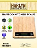 Top Bamboo Kitchen Scale - Best Digital Food Scale - Natural Bamboo Design, 11 LB Capacity, Tare Function, Backlight LCD, Auto Shutoff by Harlyn (cooking, baking, jewelry weight, portion control)
