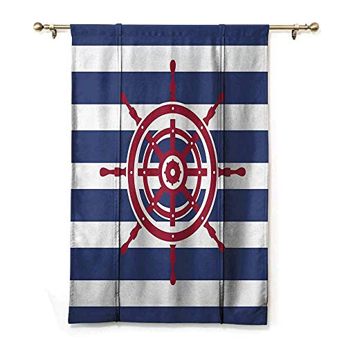 SONGDAYONE Novel Roman Curtains Ships Wheel Decor Modern Design Illustration of Ship Wheel Icon on a Stripped Background Fashionable Decorating Art,W48 x L64 Violet Blue Ruby
