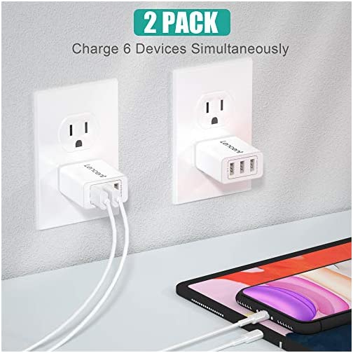 LENCENT USB Wall Charger Plug, [2 Pack] 17W 3-Port USB Cube Portable Charger AC Outlet Adapter for iPhone 11/ Xs/XS Max… |
