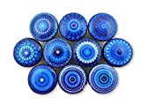 Set of 10 Royal Blue Mandala Cabinet Knobs