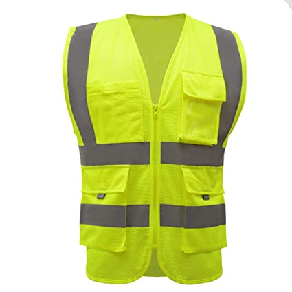 Safety Clothing Smart Reflective Safety Vest Pockets Breathable Yellow Orange Mesh Vest Work Wear