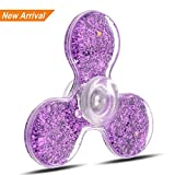 GLITTER Fidget Spinner with water inside, Watery Fidget Spinner with Glitter Inside, ADHD Focus Stress Reliever Hand Toys (PURPLE)