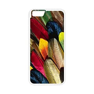 Diy Colorful Feather Phone Case for iphone 6 Plus (5.5 inch) White Shell Phone JFLIFE(TM) [Pattern-1] hjbrhga1544