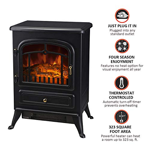 Cheap Sunnady 750/1500W Adjustable Electric Fireplace-Indoor Freestanding Space Heater with Faux Log and Flame Effect-Warm Classic Style for Bedroom Living Room and More Black Friday & Cyber Monday 2019