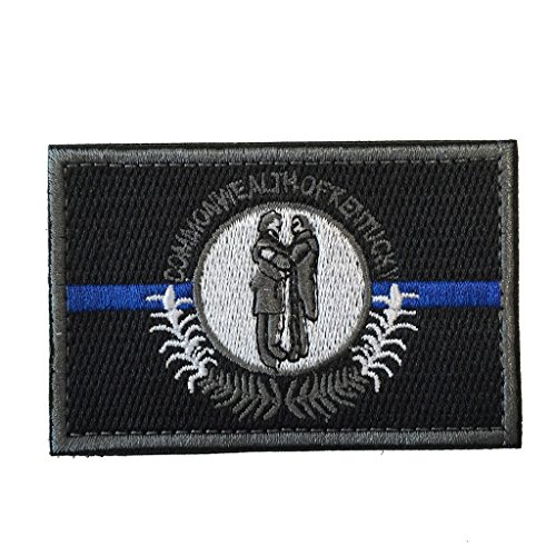 SpaceAuto Kentucky State Flag Tactical Morale Patch Thin Blue Line