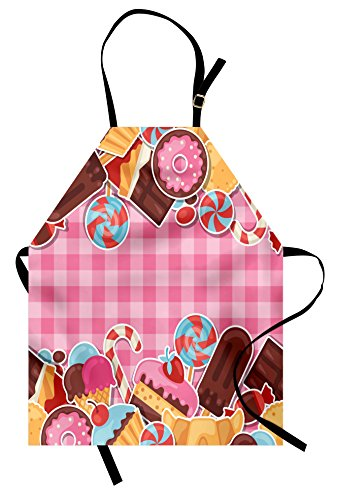 Ambesonne Ice Cream Apron, Candy Cookie Sugar Lollipop Cake Icecream with Pink Plaid Art Design, Unisex Kitchen Bib Apron with Adjustable Neck for Cooking Baking Gardening, Baby Pink Brown Caramel ()