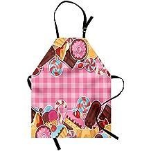 Ice Cream Apron by Ambesonne, Candy Cookie Sugar Lollipop Cake Ice Cream Girls Design, Unisex Kitchen Bib Apron with Adjustable Neck for Cooking Baking Gardening, Baby Pink Chestnut Brown Caramel