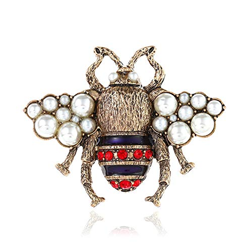 Pearl Brooch Cultured Gold (Vintage Honey Bee Brooch Pins Women's Retro Simulated Pearl Red Rhinestone Insect Brooch for Girls Cute Party Jewelry Gift Fashion)