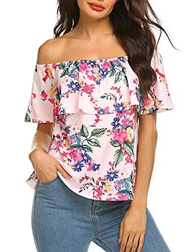 Sherosa Women's Off Shoulder Ruffles Solid Casual Blouse Loose Tops (XL, Pink) ()