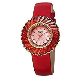 Women's Red Crystal Accented Fan Design Watch