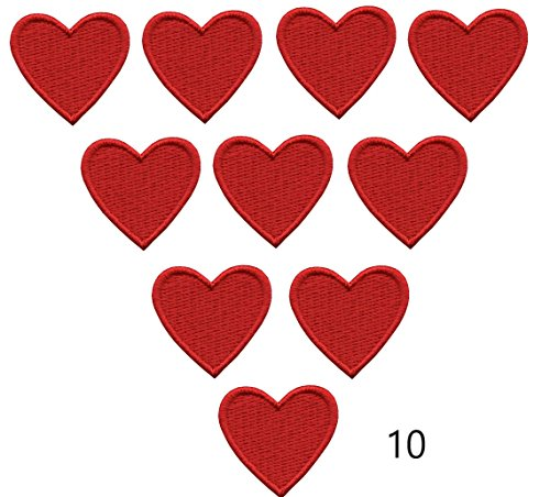 Iron On Patches - Red Heart Patch 10 pcs Iron On Patch Embroidered Applique 1.26 x 1.18 inches (3.2 x 3 cm) A-92