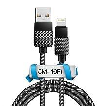 5M/16Ft USB Lightning Cale, Long USB Lightning Cale for iPhone 7/7 Plus/6/6S/6 Plus/6S Plus/5S/5C, iPad, iPod, Apple Lightning Port