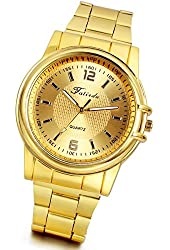 Lancardo New Luxury Men Boys Dad Grandpa Gold Tone Wrist Watches with Gift Bag