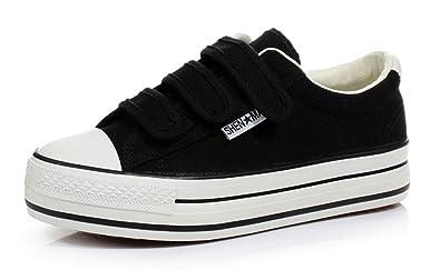 Damen Sneaker Low-Top All-Match Freizeitschuhe Canvas Komfort Plateau Aufzug Trendig Schnürung Rundzehen Schuhe Schwarz 35 EU LuyP4x2