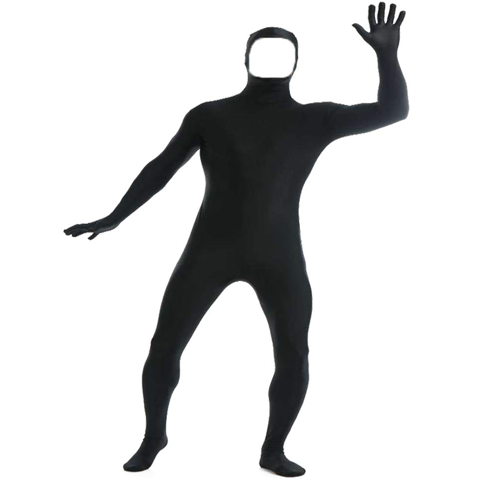 YOMOSA Zentai Lycra Spandex Bodysuit Open Face Cosplay Costume Zentai Men Women Unisex Body Suits for Halloween Holiday Size L Black