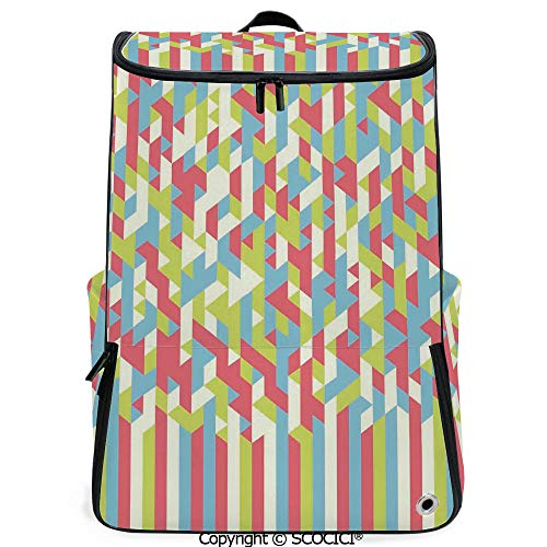 (SCOCICI Laptop Backpack,Psychedelic Backdrop with Fractal Gradient Dimensional Motif,Dried Rose Green,Customizable Multicolor for Men & Women Sport Daypack)