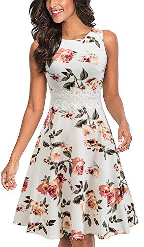 HOMEYEE Women's Sleeveless Cocktail A-Line Embroidery Party Summer Wedding Guest Dress A079(6,Off-White+Floral)