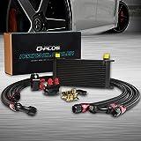 AN10-10AN 19 Row Universal Aluminum Engine Transmission Oil Cooler Kit + Oil Filter Relocation Kit Black