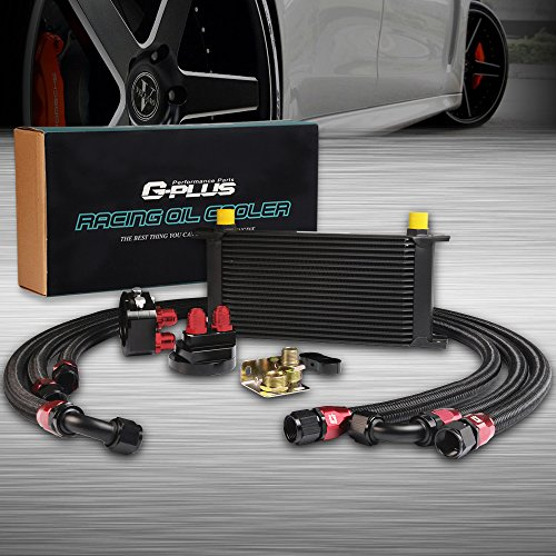 (AN10-10AN 19 Row Universal Aluminum Engine Transmission Oil Cooler Kit + Oil Filter Relocation Kit Black )