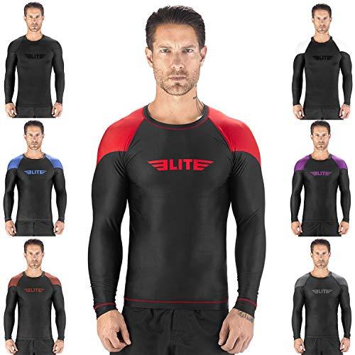 - Elite Sports New Item Full Long Sleeve Compression, MMA, BJJ, No-Gi, Cross Training Rash Guard (Red, Large)