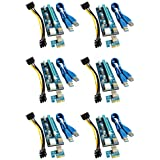 BEC NeTech PCIe PCI Express Riser Adapter Card with USB 3.0 Extension Cable and SATA Power Cable (6 Pack) (VER008C)