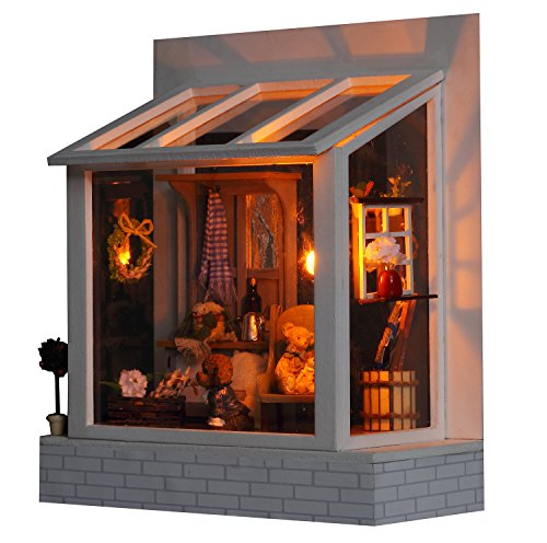 Famulei Wooden Dollhouse with Furnitures DIY Assembling House Miniature Crafts Toys for Children and Teens LED Light Handmade Dollhouse For Gift,Dolls and Teddy Bears Coffee Time