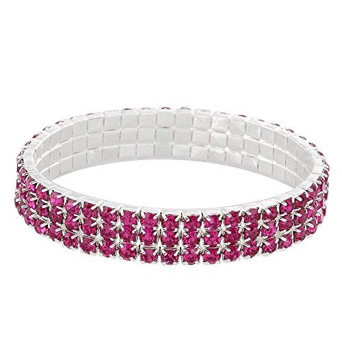 Pink Rhinestone Bracelet - Falari Rhinestone Crystal Stretch Bracelet Sparkle Wedding Bridal 3 Rows Fuchsia