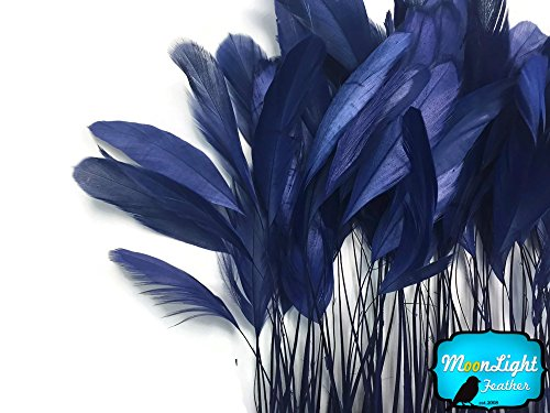 - Moonlight Feather | 1 Dozen - Navy Blue Stripped Rooster Coque Tail Feathers Craft Costume Supply
