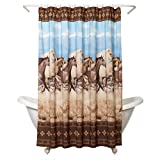 Zenna Home, Running Free Shower Curtain, Western/Horses